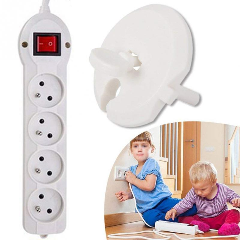 6PCS Socket Cover+2PCS Key Electric Plug Protection Baby Safety Anti-electric Shock Outlet Protection Cover For Home Set #20