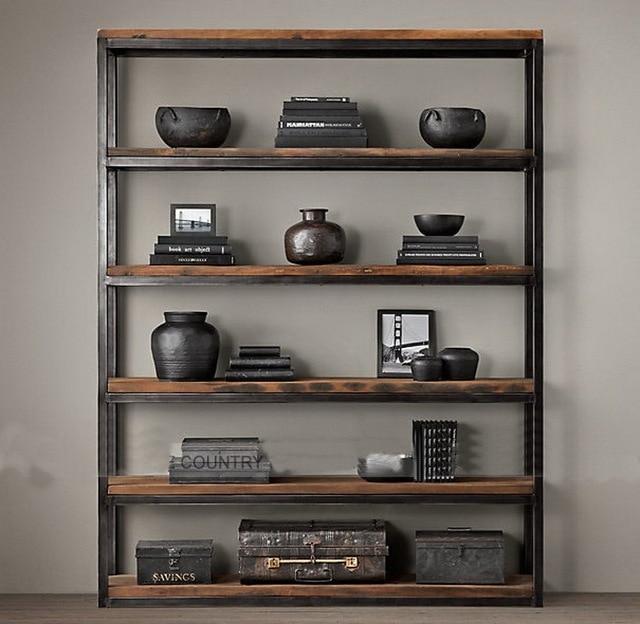 Minimalist Modern Loft American Country Wood Floor Racks Wrought Iron Shelves Layer Shelf Retro Nostalgia