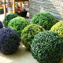 YO CHO Artificial Plants Large Green Imitation Plastic Grass Boule for Home Garden Outdoor Decoration Fake Flower Ball