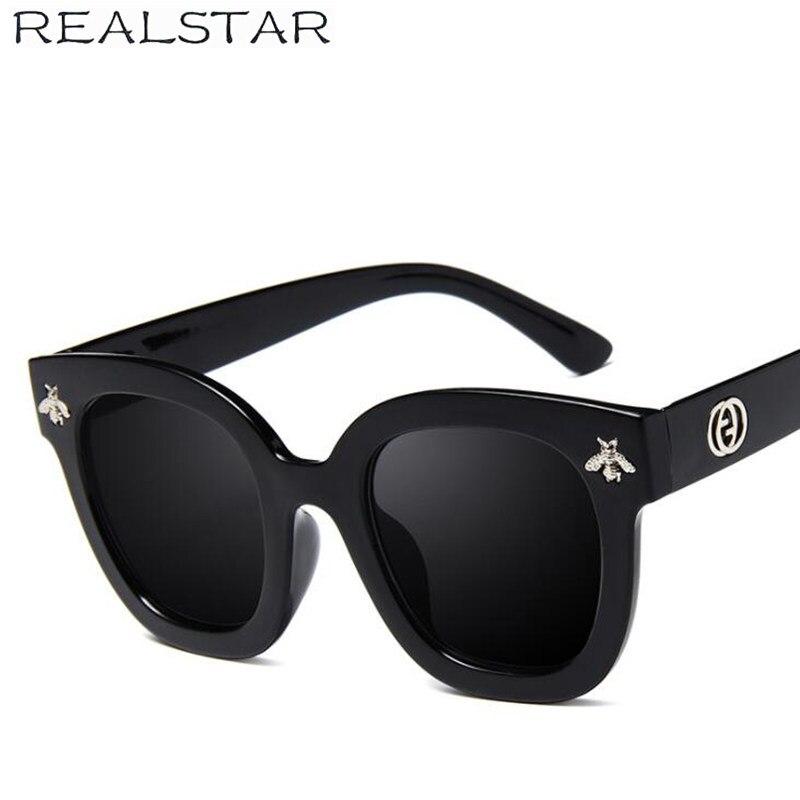 REALSTAR 2018 Fashion Square Frame Bee Sunglasses Women Luxury Brand Designer Vintage Sun Glasses Vintage Shades Oculos S419