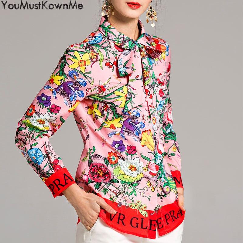 2019 femmes blouses à manches longues chemise serpent imprimer lettre fleur imprimé grande taille femmes blouses femmes mode piste rose chemises - 2