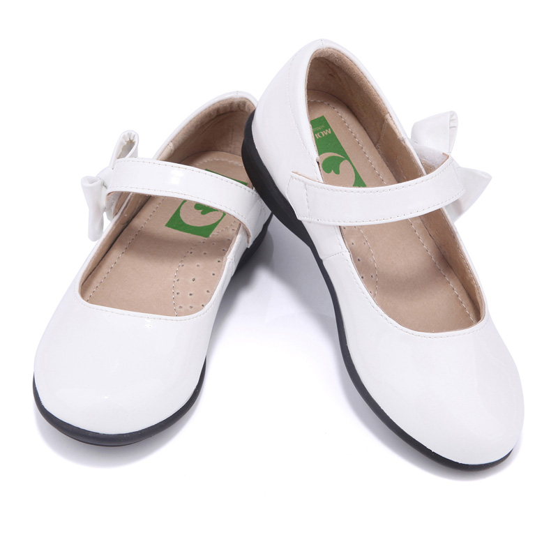 Girls shoes spring and autumn white light leather children's shoes butterfly-knot ballet flats princess shoes kids shoes princess poppy ballet shoes