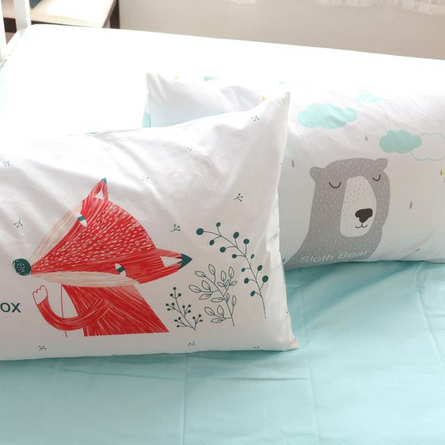 100Cotton Fox And Bear Pillow Case 2Pcs Animal Pillowcase Home One Pair Brief Style Custom Pillow shams 48x74cm