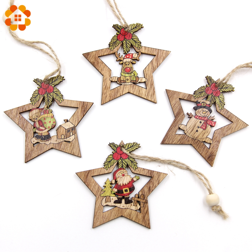 4PCS Christmas Star Wooden Pendants Ornaments Xmas Tree Ornament DIY Wood Crafts Kids Gift for Home Christmas Party Decorations-in Pendant & Drop Ornaments from Home & Garden on Aliexpress.com | Alibaba Group