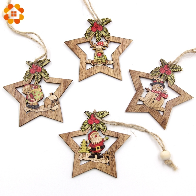 4PCS Christmas Star Wooden Pendants Ornaments Xmas Tree Ornament DIY Wood Crafts Kids Gift for Home Christmas Party Decorations