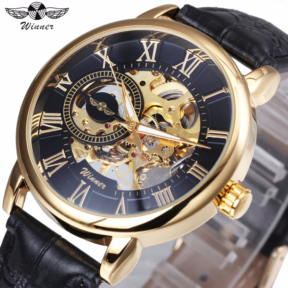 WINNER Mechanical Mens Watches Top Brand Luxury Skeleton Dial Golden Index Wristwatches for VIP Wholesale Dropship Customer