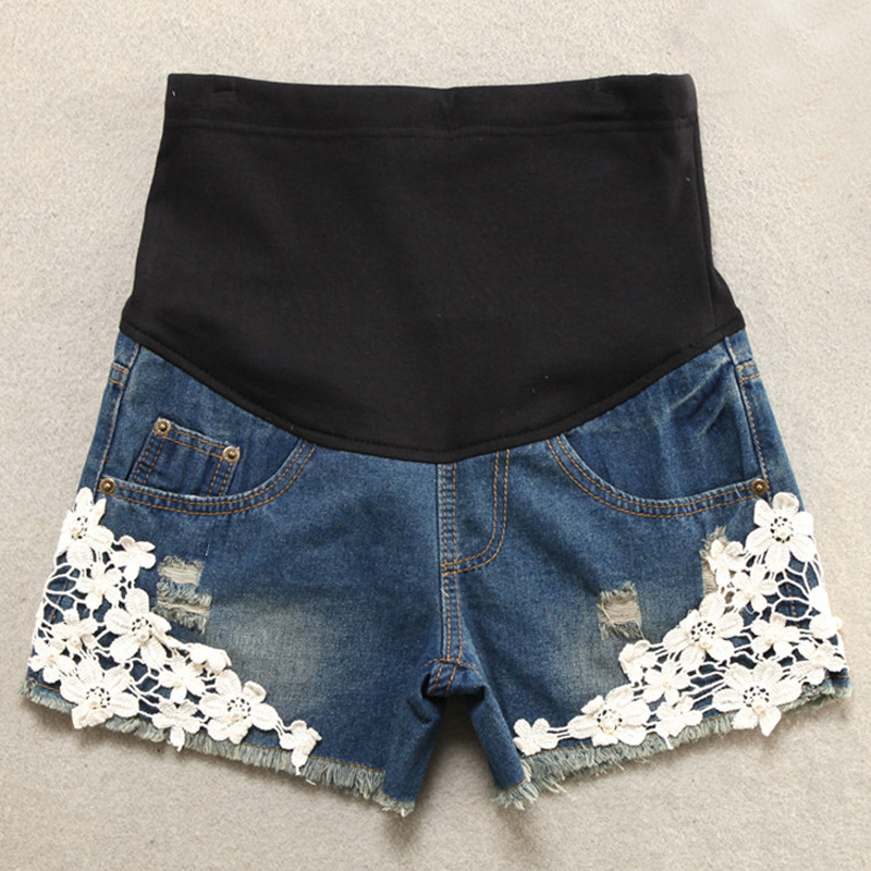 Summer Short Maternity Lace Jeans Pants For Pregnant Women Clothing Pregnancy Clothes Shorts Belly Jeans 2016 New Plus Size XXL europe style floral embroidery denim shorts women ripped shorts 2017 summer new boyfriend blue hole plus size woman short jeans