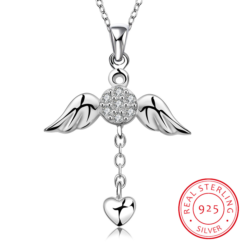 LEKANI Genuine 925 Sterling Silver Necklace Fine Jewelry Angel Wings with A Heart Pendant Necklace Statement Choker Holiday GiftLEKANI Genuine 925 Sterling Silver Necklace Fine Jewelry Angel Wings with A Heart Pendant Necklace Statement Choker Holiday Gift