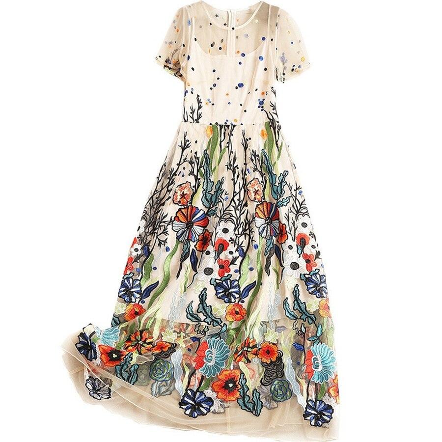 VERDEJULIAY luksusowa projektanta letnia sukienka kobiety 2019 Runway nowy mody kwiat haft Patchwork długa elegancka sukienka Vestidos w Suknie od Odzież damska na  Grupa 3