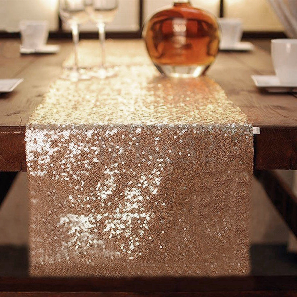 Luxury Rose Gold Sequin Table Runners for Wedding Party home Decoration Elegant Table Runner lace Tablecloth for dining table