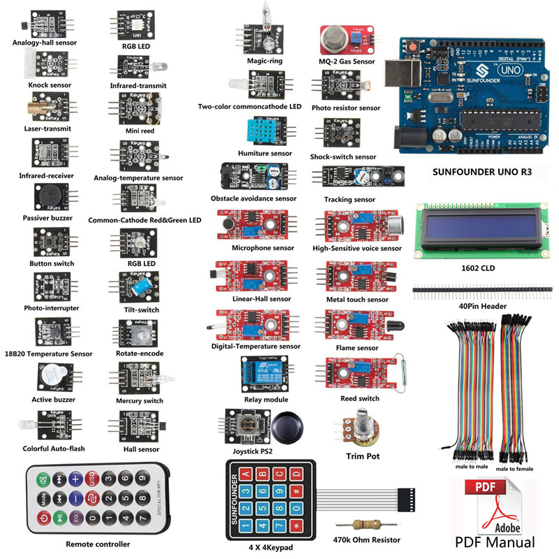 SunFounder Learning kit For Arduino 37 Modules UNO R3 Sensor Kit V1.0 for Arduino Including UNO R3 BoardSunFounder Learning kit For Arduino 37 Modules UNO R3 Sensor Kit V1.0 for Arduino Including UNO R3 Board