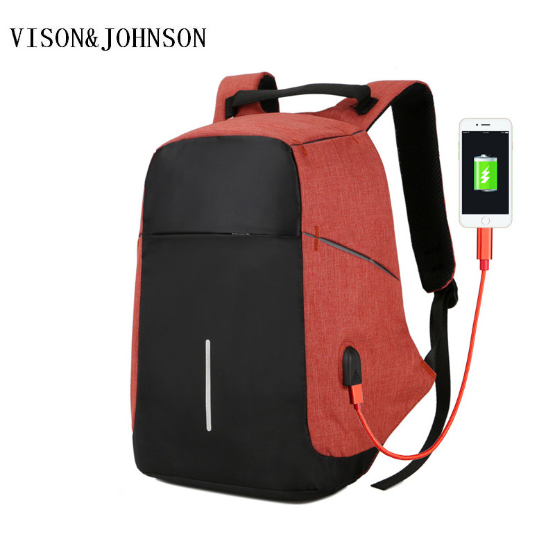 VISON&JOHNSON Large Capacity Laptop Bag Oxford Anti Theft Man USB Charge Backpack Black  ...