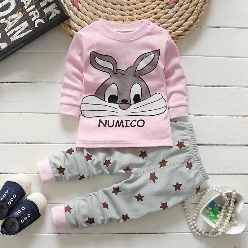 Хлопковая одежда для маленьких девочек зимний комплект одежды для новорожденных из 2 предметов, одежда для маленьких мальчиков с мультяшным рисунком комплекты детской одежды унисекс bebes