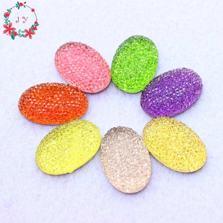 Set of 50pcs Glitter Bling Oval Shaped Resin Cabochon Beads 20*30mm Flatback Bling Resin Beads Cabochon Free Shipping