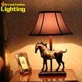 Старинные европейский настольная лампа прикроватная домашнего декора лошадь элегантной тени ретро 8074