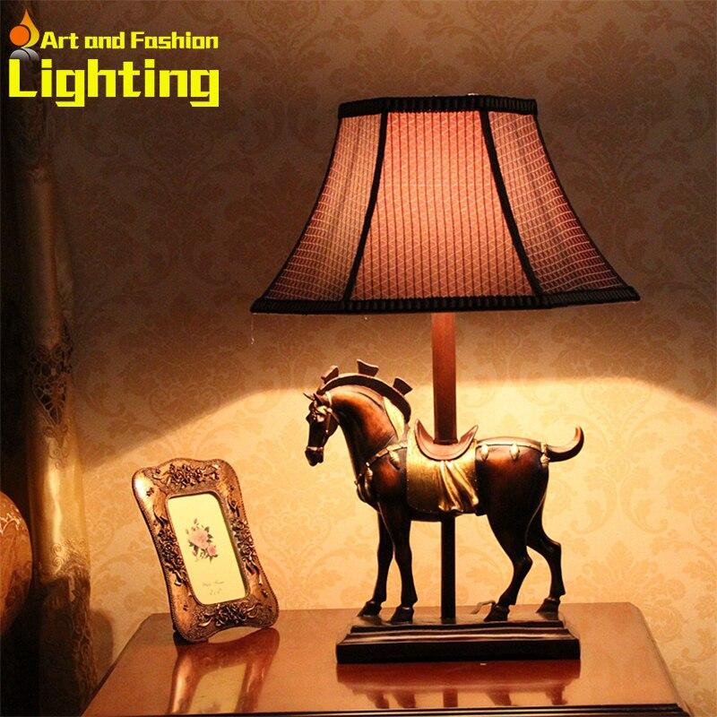 Vintage European Table Lamp Bedside Desk Home Decor Horse Elegant Shade Retro Light 8074