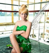 Free shipping Tinker Bell Princess dress+wing+shoes+ wig cosplay Animation wig for women for party and christmas