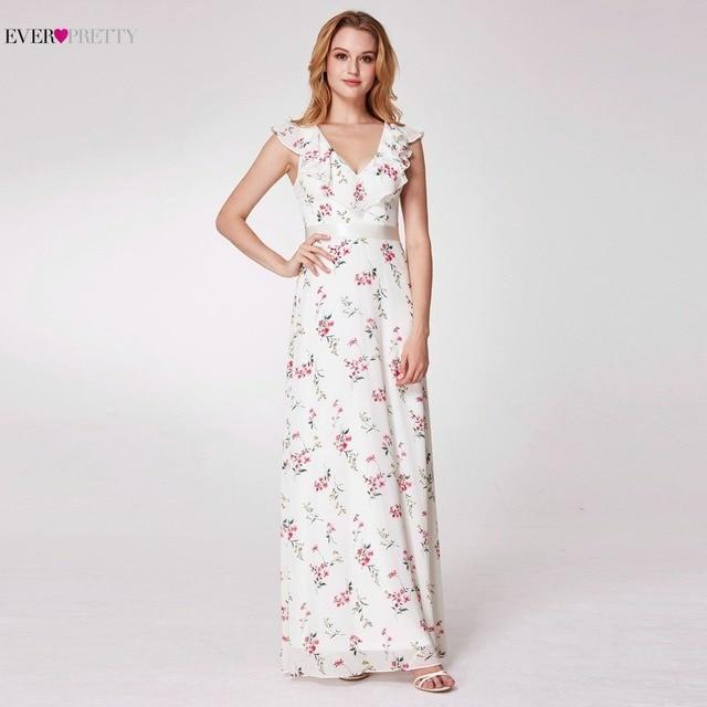 V Neck Floor Length Prom Dresses