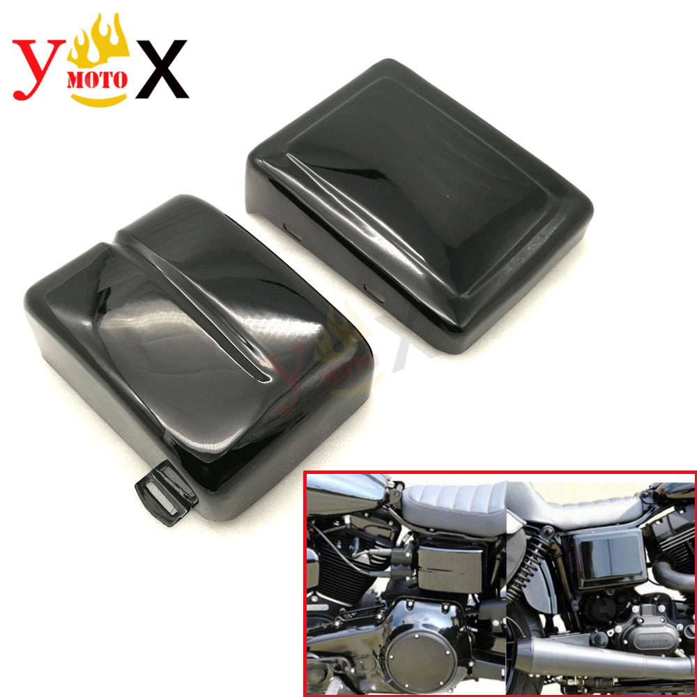 Matte Glossy Black Left Right Battery Cover Guard Side Faring For Harley Dyna Low Rider Fat