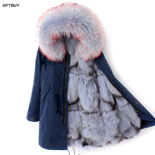 OFTBUY 2020 חורף מעיל נשים אמיתי טבעי פרווה מעיל רופף דביבון פרווה צווארון פרוות שועל אוניית ארוך parka להאריך ימים יותר גבוהה איכות