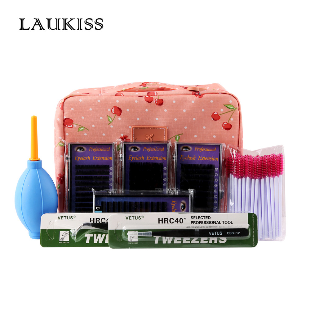 Eyelash Extension Kits False Eyelashes Makeup Tools Professional Lashes Individual Cosmetic Bag LAUKISS free shipping new product 5 tray 4 colors individual lash extension silk colorful eyelash extension fashion false eyelashes