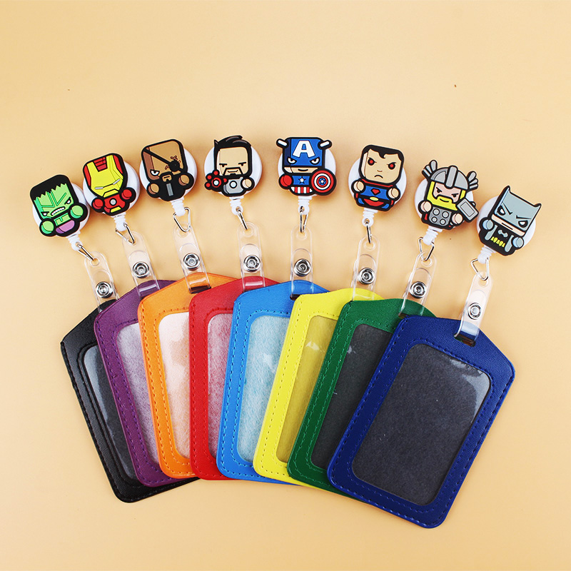 1Pcs Lovely Cartoon Character Business Vertical  Badge Clip With Stretching Telescopic Badge Reel Id Holders For Men Women