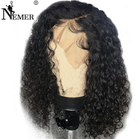NEMER 150% Density 13x6 Lace Front Human Hair Wigs Pre Plucked Natural Hairline With Baby Hair Curly Wig Brazilian Remy Glueless