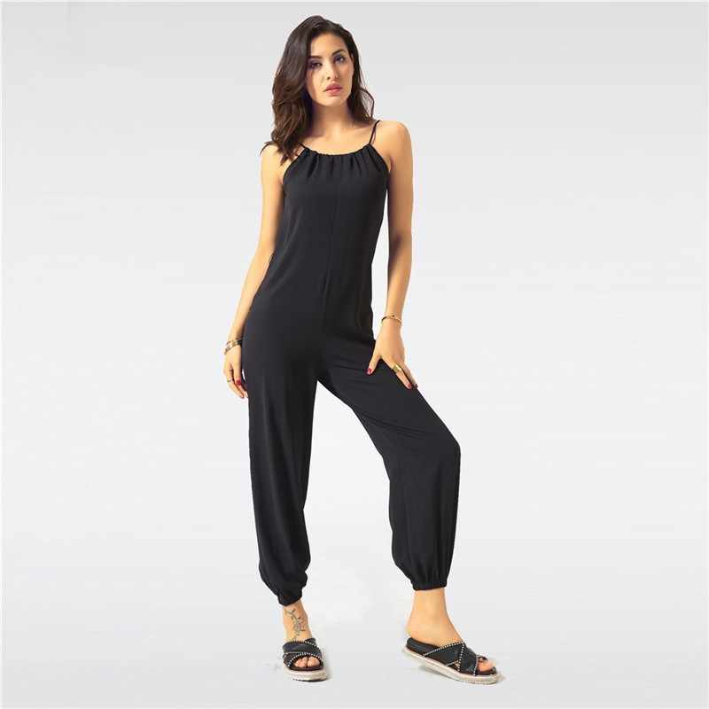 af0f59c585 ... Summer Jumpsuit for Women Sexy Casual Black Sling Backless Lantern  Pants Female Overalls Elegant Beach Rompers ...