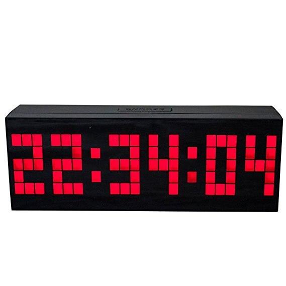 Chambre grand grand nombre LED snooze bureau mural réveil salle de Gym compte à rebours minuterie avec calendrier calendrier température (rouge)