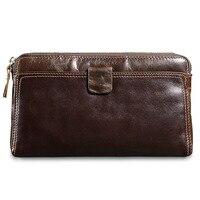 Multi function Men Wallet Luxury Zipper Long Clutch Handy Bag Vintage Male Leather Purse Men's Clutch Bags Fashion Masculina