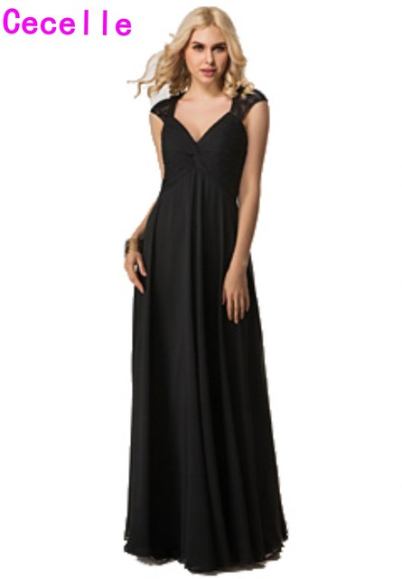 5a448e3e1b9 2019 Real Black Empire Waist Maternity Bridesmaid Dresses Long Sleeveless  Open Back A-line Formal Wedding Party Gowns Pregnant