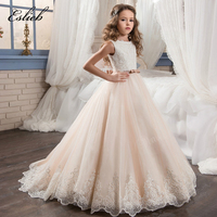 Fancy Champagne Flower Girl Dress With Beige Ribbon Bow Crew Neck Mesh Ball Gowns Kids Holy