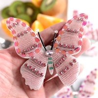 Handmade Pink Bead Diamonds Butterfly Embroidery Cloth Paste High End Clothing Shoes Bag Accessories DIY Decoration