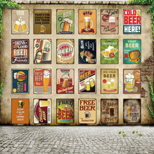 [ WellCraft ] Free Beer Tomorrow Ice Cold Served Here Metal Sign Posters art Vintage Mural Painting Custom Decor WW4