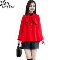 UHYTGF New Winter Woman Coat Fashion Short Wool Jacket Bell sleeve Loose Plus size Outerwear Elegant Woman Red Woolen Jacket 842