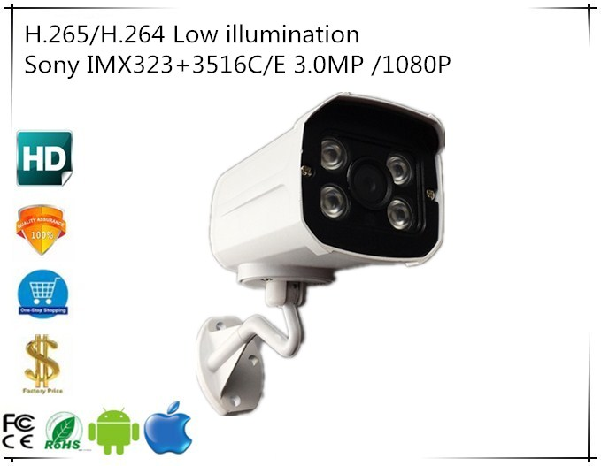 Sony IMX323 3516C 3 0MP 2048 1536 1080P H 265 H 264 IP Camera WaterProof Low