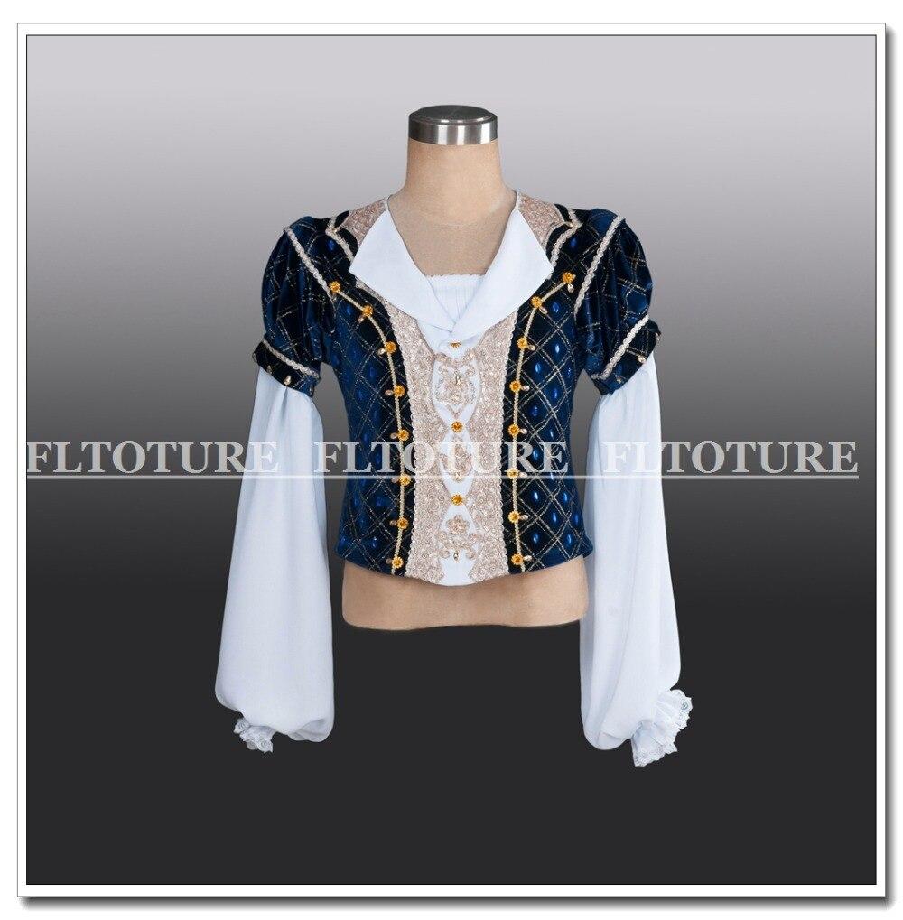 Fltoture BLM008 Man Ballet Tunic Dark Blue Prince Clothes For Ballet Performance & Competition Men Tunics Boy Velevt Top Coat