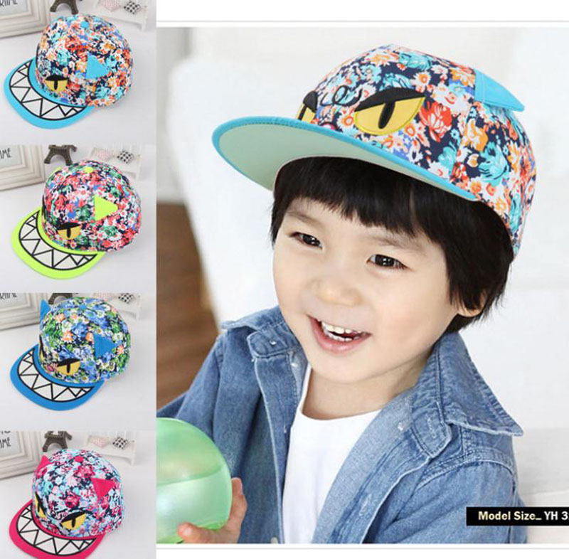 2016 New Children Baseball Caps kids Hip hop cap Cartoon Devil Floral snapback cap For Boys Girls Peaked cap cntang brand summer lace hat cotton baseball cap for women breathable mesh girls snapback hip hop fashion female caps adjustable