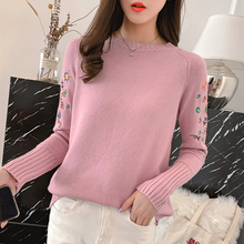 Korean Casual Knitted Women Sweater Knit Women Sweaters and Pullovers Embroidered Flowers Long Sleeve Pink Oversized Sweater