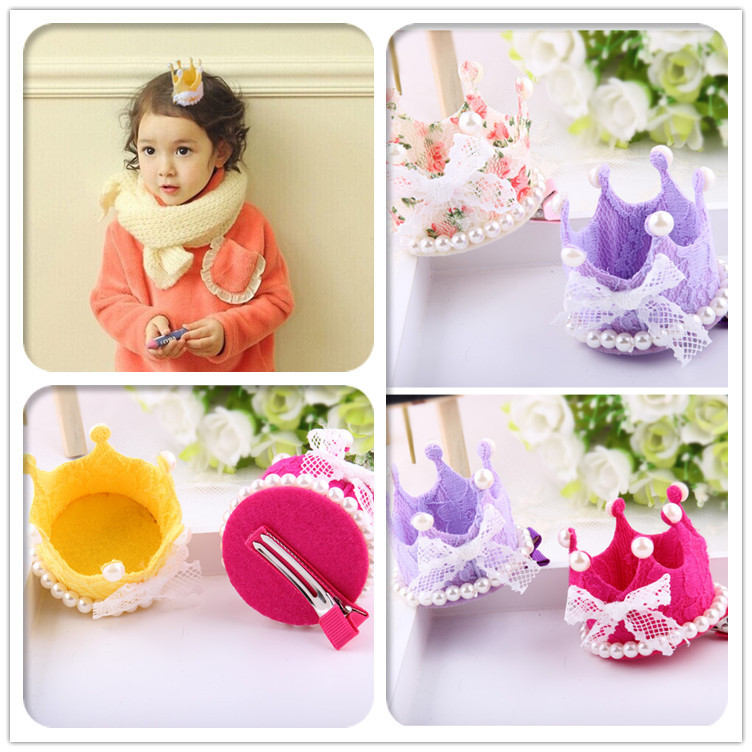 New arrival Christmas gift girl lace crown Hair Clips kids Girls Hair Accessories 10pcs/lot free shippiing