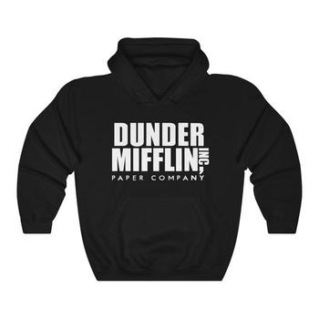 Sugarbaby Dunder Mifflin Hoodie The Office TV Show Comedy Fashion Black Grey Hoodie Long Sleeve Tumblr Casual Tops Drop ship heather grey drop shoulder crossover hoodie