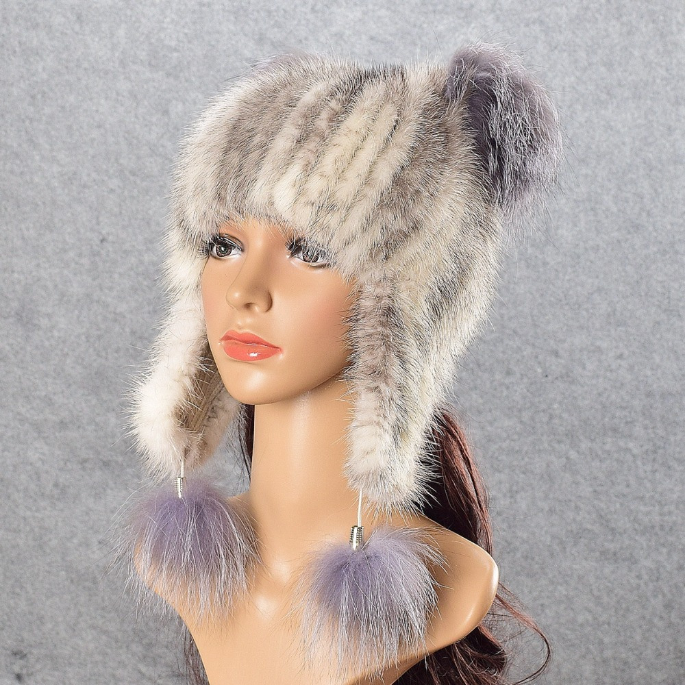 Natural Fur Hat Cute Cat Earrs Winter Crystal Beanies Women Girls Hand-made Knitted Lined Real Mink Fur Hat Cap With Fox besty women fashion real fur knitted mink fur wool cap hat with real fox fur ball ear protector genuine sable natural mink fur page 2