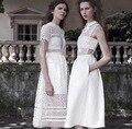 Novo estilo verão 2015 da marca de moda bohemian mulheres branco oco fora vestido de renda midi mid calf elegante arco de manga curta vestidos