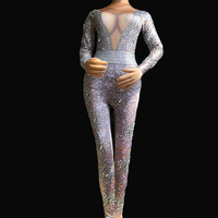 Modern Sexy Fashion Diamond Print Jumpsuit Leggings Stretch Sexy Costume Dance Platform Women Performance Costumes DJ302