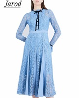 2018 High Quality Spring Autumn Winter Runway Designer Dress Women S Long Sleeve Patchwork Lace Party