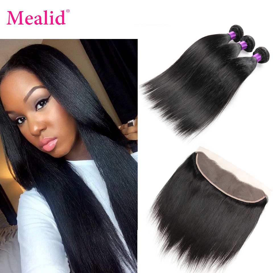 Mealid бразильский пучки волос плетение с фронтальной Nonremy прямые человеческих волос Связки с застежка фронтальная с Связки бесплатная часть