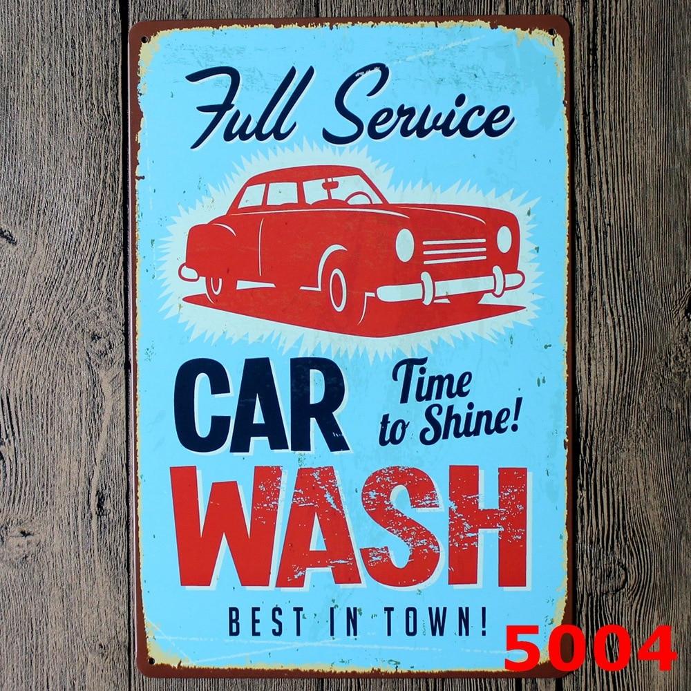 Car wash full service retro metal tin signs poster iron painting ...