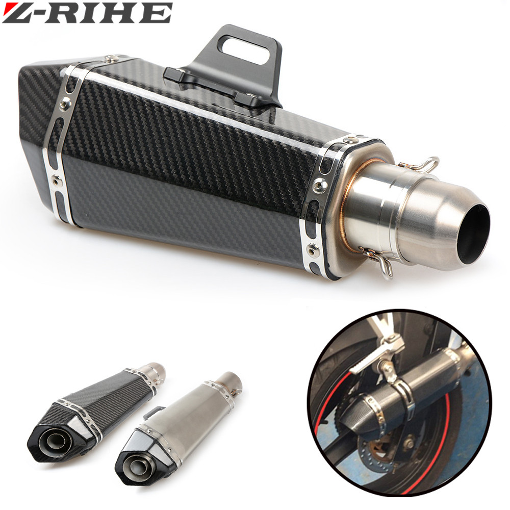 Motorcycle Real carbon fiber exhaust Exhaust Muffler pipe escape moto exhaust pipe db killer for all motorcycles 36-51MM carbon fiber 36 51mm motorcycle universal exhaust pipe muffler escape pipe for cb400 cb1000 er6n yzf r6 bj300 ninja300 gxsr600
