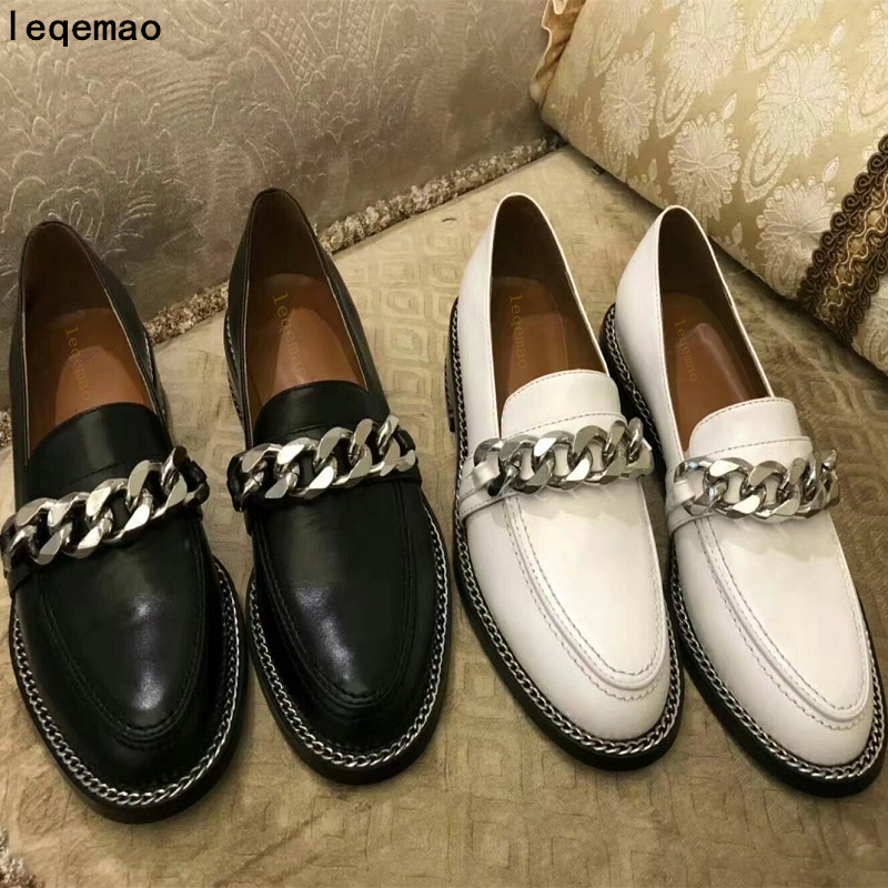 New Brand Fashion Luxury Women Casual Shoes Chain High Quality Genuine Leather Loafers Woman Spring Autumn Ladies Flats Shoes new 2017 men s genuine leather casual shoes korean fashion style breathable male shoes men spring autumn slip on low top loafers