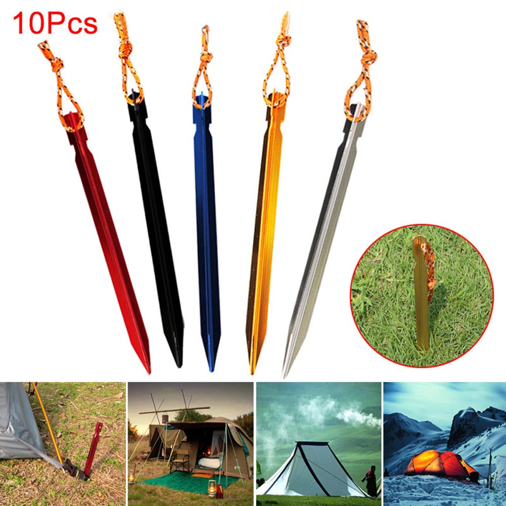 Hot Selling 10 Pcs Tent Peg Nail Aluminium Alloy Stake with Rope Camping Equipment Outdoor Traveling Supplies